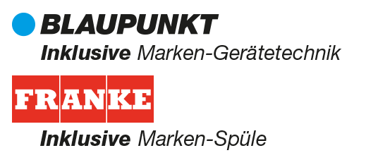Inklusive Blaupunkt Marken-Gerätetechnik, inklusive Franke Marken-Spüle.