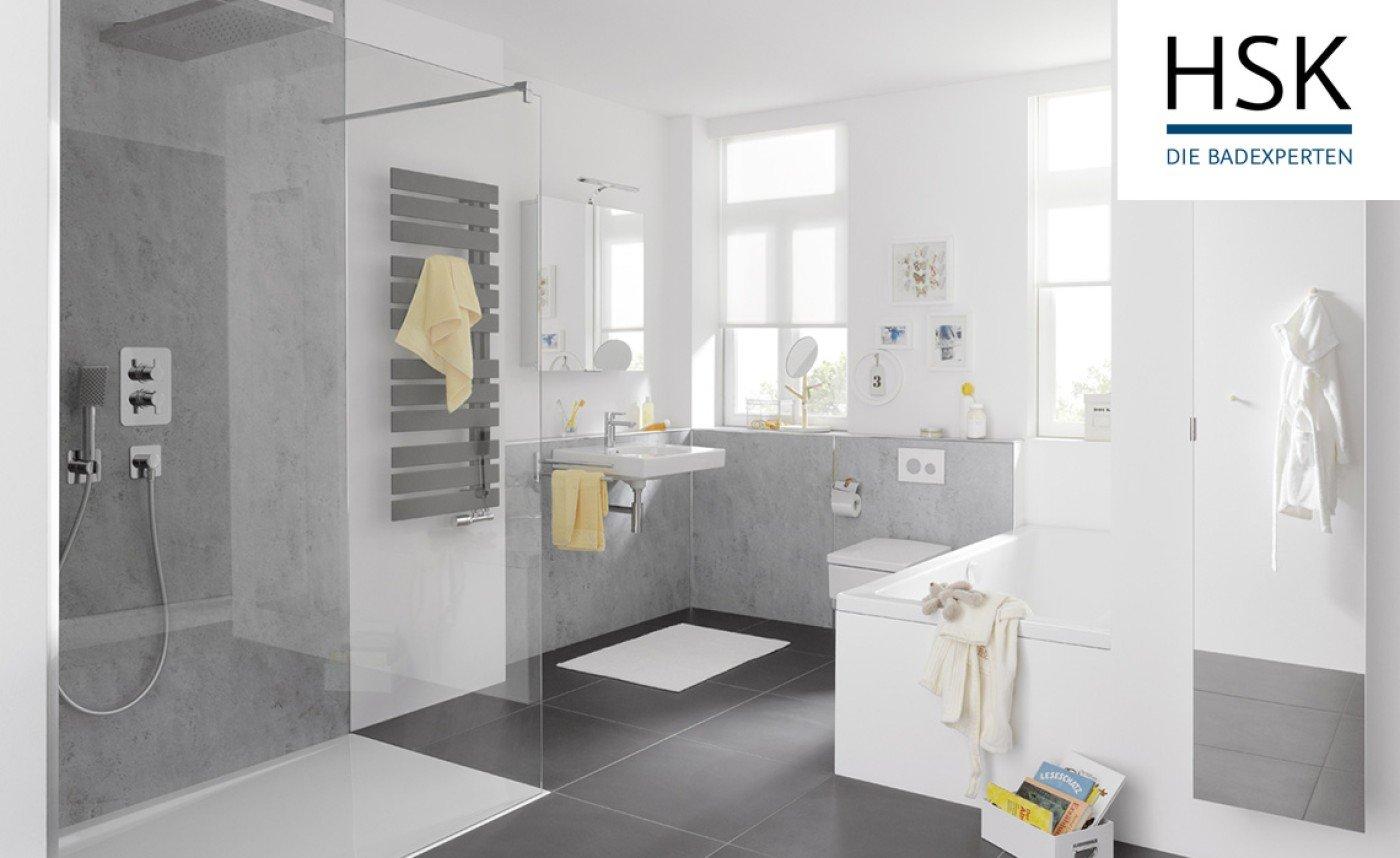 HSK Badezimmer in Sichtbeton lichtgrau – Dusche