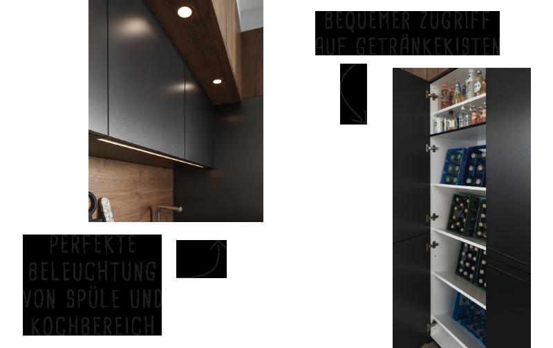 Perfekte Beleuchtung von Spüle und Kochbereich. Bequemer Zugriff auf Getränkekisten.