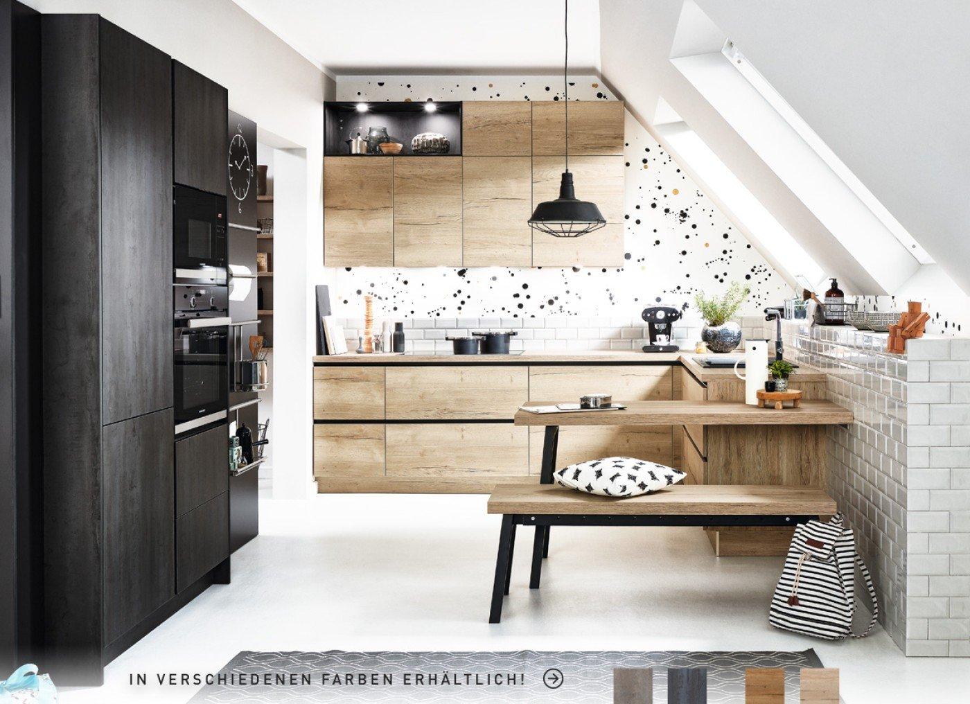 Vancouver GL Alteiche-sand – Meteor GL Schwarzstahl – Küche