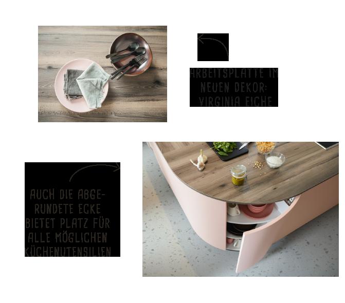 Arbeitsplatte in Virgina Eiche | Viel Platz für alle Küchenutensilien