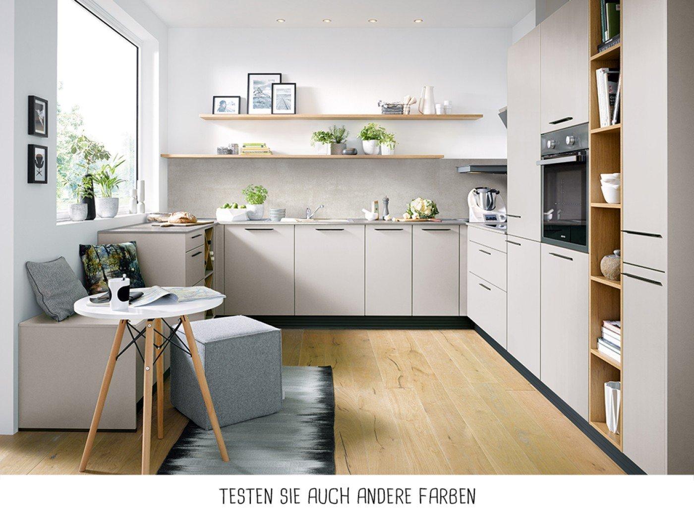 Moderne U-Form Küche – Sandgrau