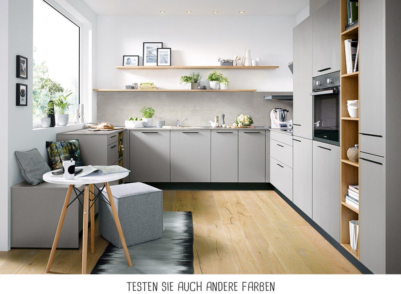 Moderne U-Form Küche - Steingrau