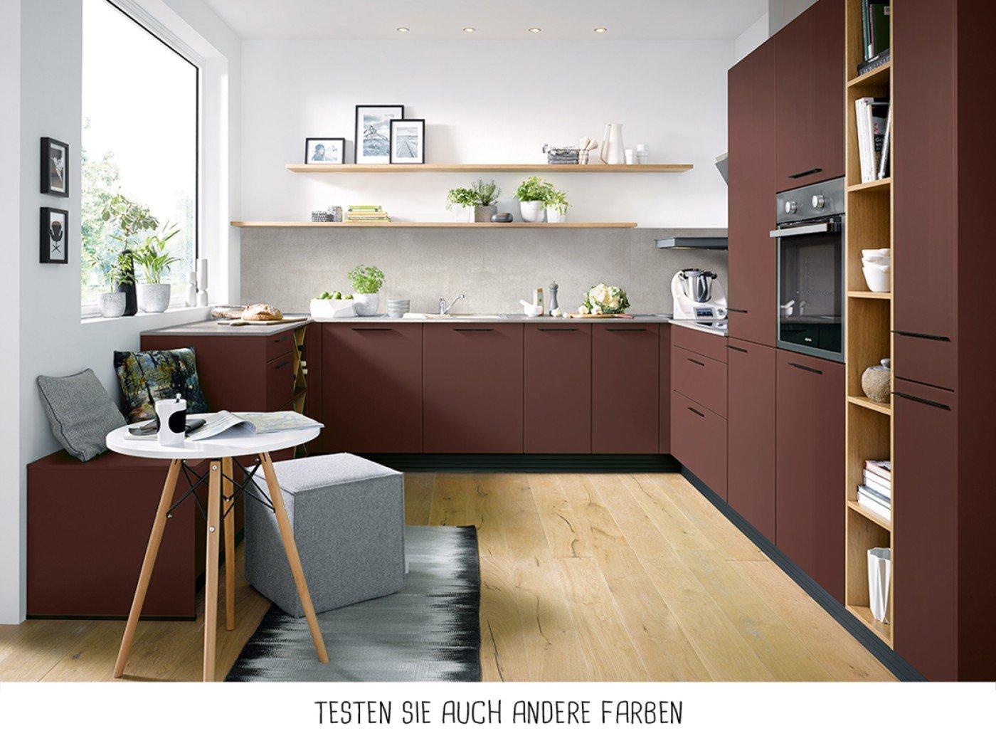 Moderne U-Form Küche - Indischrot