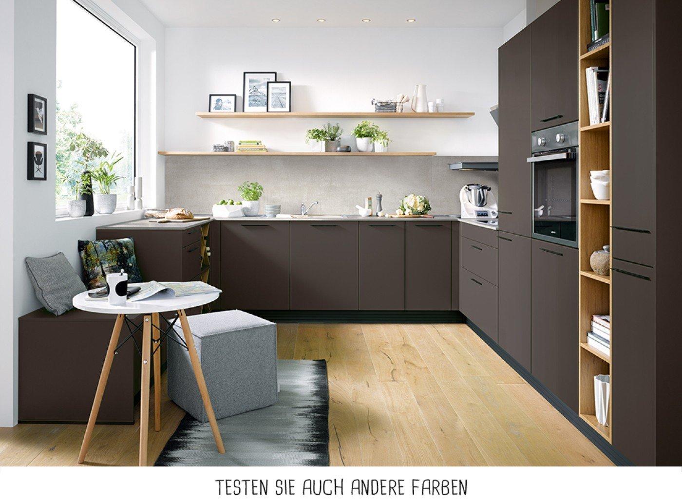 Moderne U-Form Küche - Mokkabraun