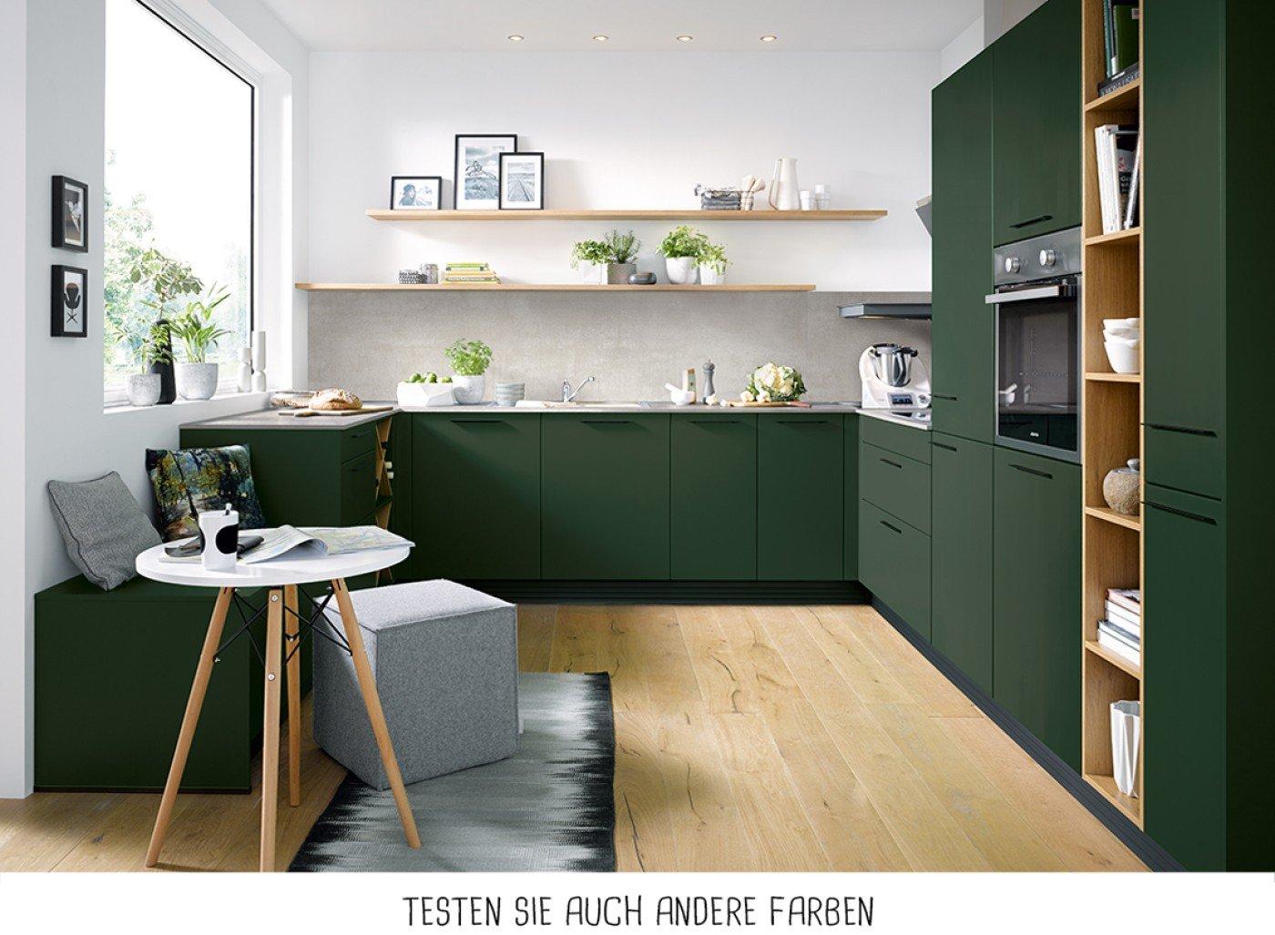 Moderne U-Form Küche - Waldgrün