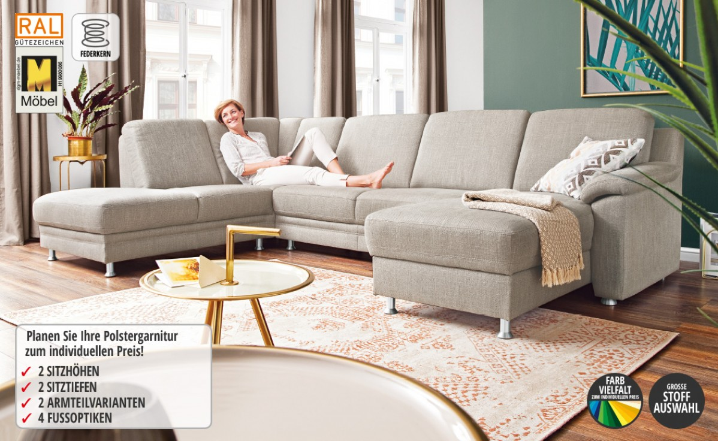 Bezug Stoff, bestehend aus: Longchair,  Zwischenelement und Abschlußsofa, Rücken echt bezogen, ca. 210x284 cm.  Ohne Kissen und  Dekoplaid.