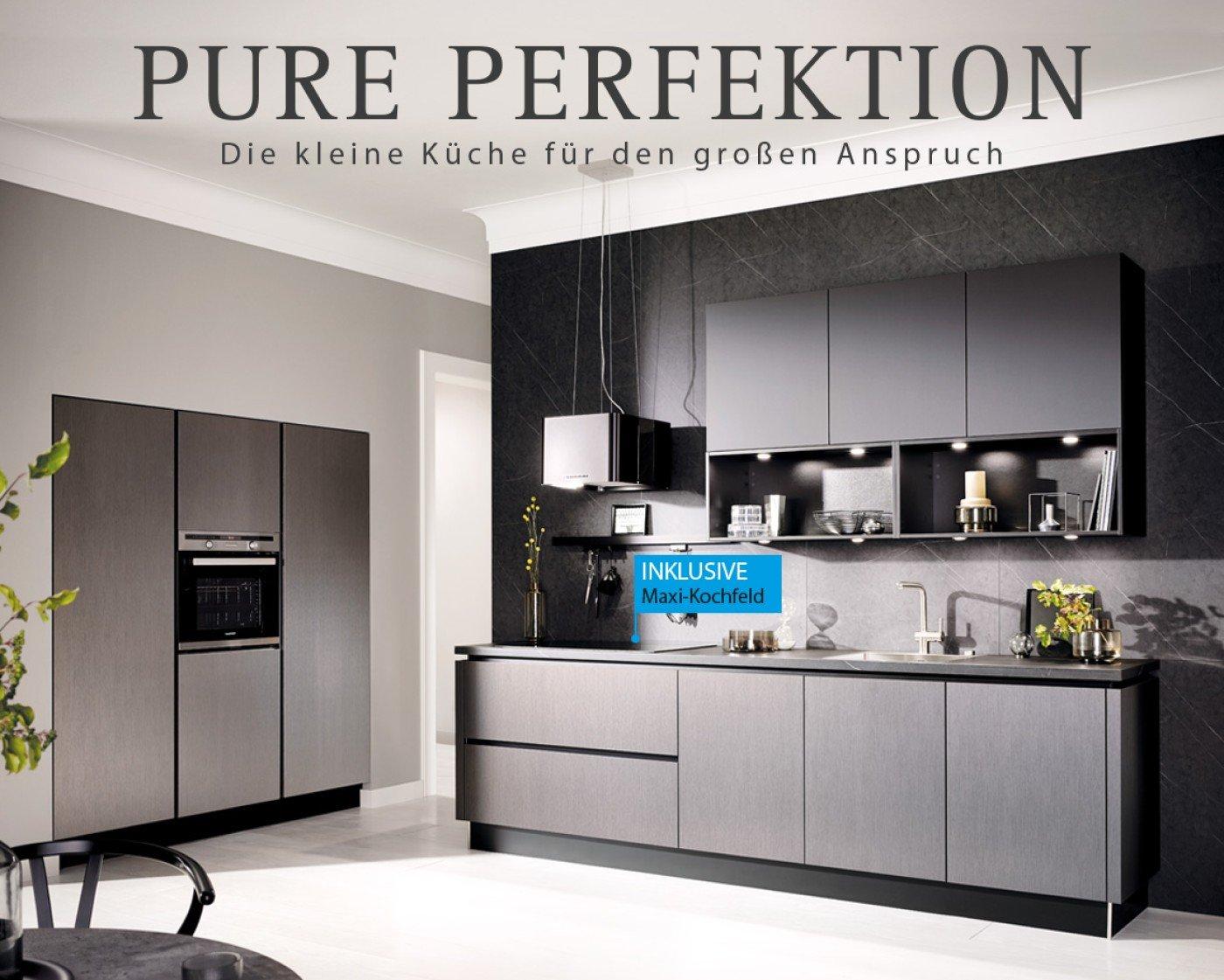 AV 2070 Küche Metallic dunkel gebürstet Korpus lavagrau, Arbeitplatte lavagrau