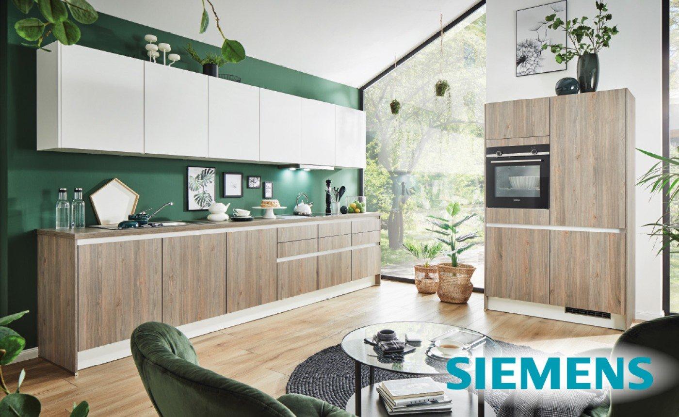 Einbauküche Front Wood mit weiss seidenmatt ca 364x123 cm. Spüle Blanco Flex Pro 45S.