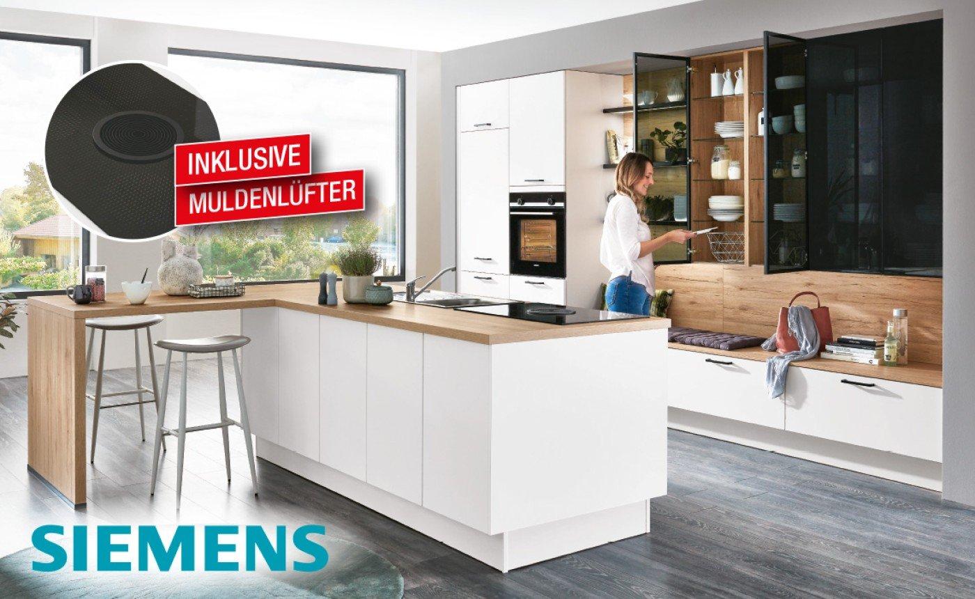Einbauküche Treviso,  Alpinweiß ultramatt, ca. 395 + 272 cm.  Inklusive Blanco Spüle (Flex Pro 45 S) und  Armatur (Daras). Ohne Deko.