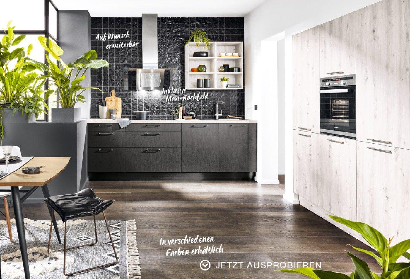 Steel-Bali Küche - Metallic dunkel - Eiche Nordic
